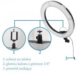 Lampa pierścieniowa LED 55W ze ściemniaczem i dwoma dyfuzorami