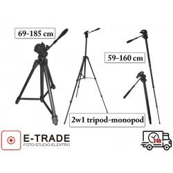 Statyw foto-video 69-185 cm - głowica 3D