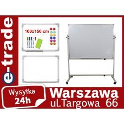 ZESTAW DWUSTRONNA TABLICA SUCHOŚCIERALNA 100x150 + STOJAK