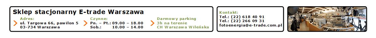 Sklep fotograficzny E-trade Warszawa - informacje kontaktowe